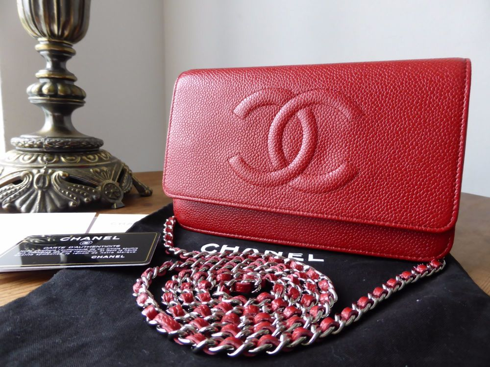 Chanel WOC Wallet on Chain in Red Caviar with Silver Hardware - As New