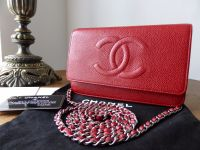 Chanel WOC Wallet on Chain in Red Caviar with Silver Hardware - As New*