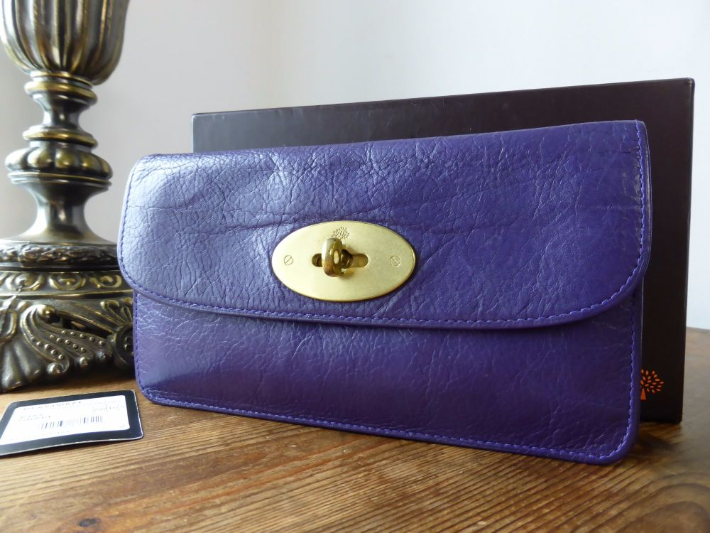 Mulberry Classic Long Locked Purse in Grape Soft Buffalo Leather