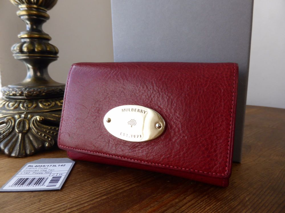 Mulberry French Purse in Poppy Red Natural Leather