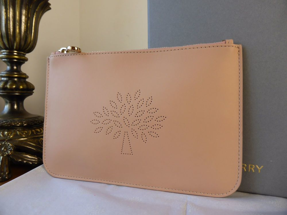 Mulberry Blossom Zip Pouch in Rose Petal Calf Nappa - New