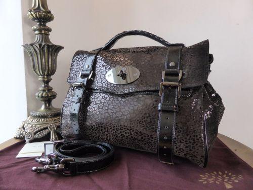 44a4f033472d Mulberry Regular Alexa Satchel in Black Mini Leopard Patent - SOLD