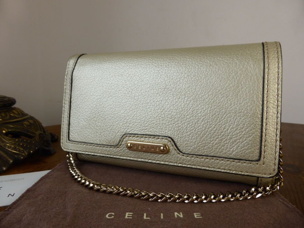 Celine Wallet on Chain in Champagne Gold Metallic Calfskin