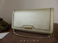 Celine Wallet on Chain in Champagne Gold Metallic Calfskin