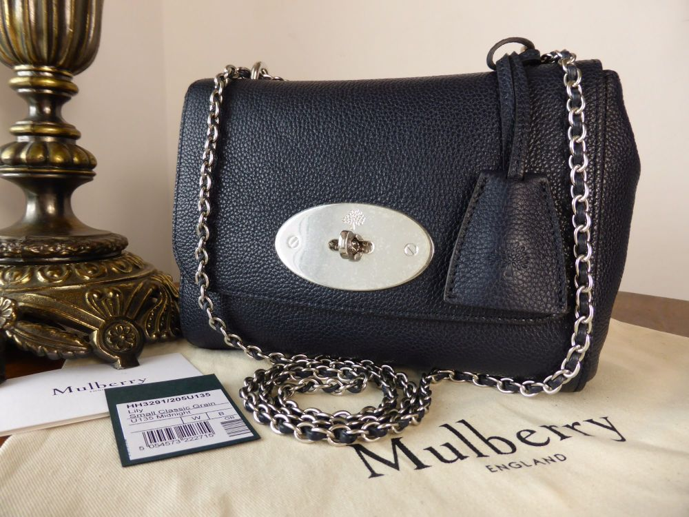 Mulberry Regular Lily in Midnight Small Classic Grain with Brushed Silver H
