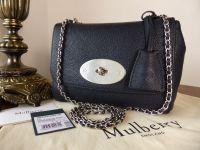 Mulberry Regular Lily in Midnight Small Classic Grain with Brushed Silver Hardware - New