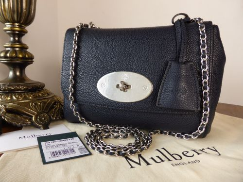 Mulberry Regular Lily in Midnight Small Classic Grain with Brushed Silver H 073948bd83a17