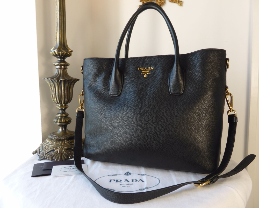 Prada Tote in Nero Vitello Daino - As New