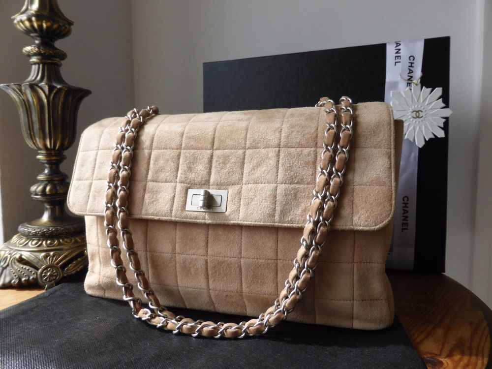 Chanel Jumbo Reissue Flap in Choc Box Quilted Nude Suede
