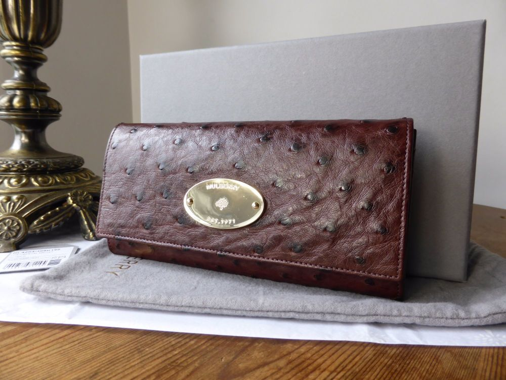 Mulberry Plaque Continental Purse in Oxblood Ostrich Leather