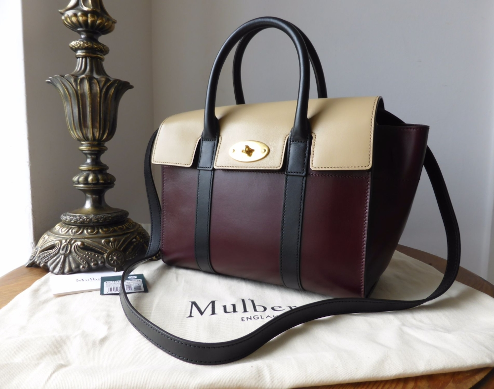 Mulberry Small Bayswater in Oxblood, Parchment & Black Crossboarded Calf