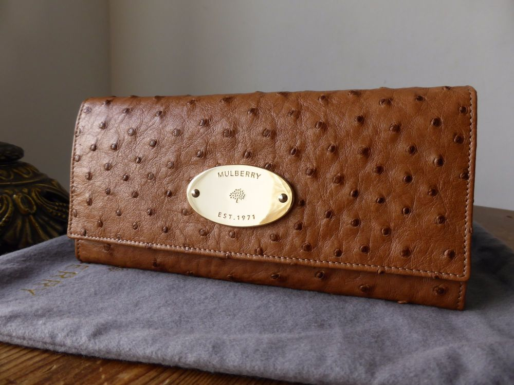 Mulberry Plaque Continental Purse in Oak Ostrich Leather