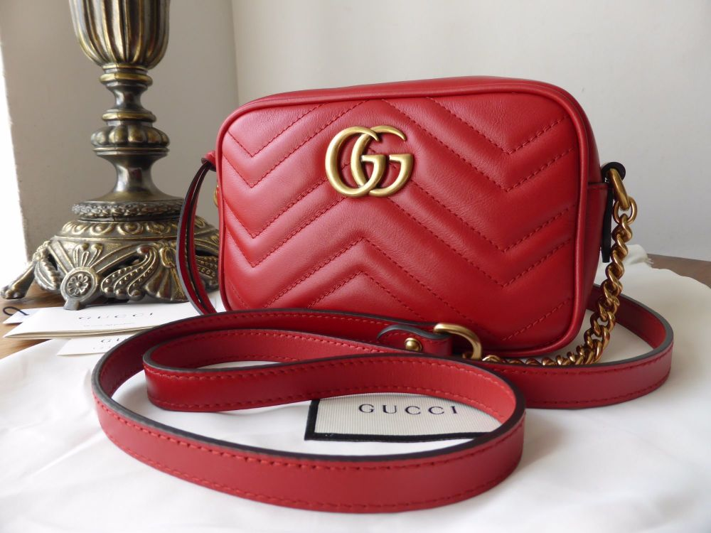 7c1eb637393 Gucci GG Marmont Matelassé Mini Bag in Hibiscus Red Calfskin - SOLD