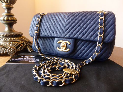 057f93c6a664 Chanel Small Chevron Quilted Flap Bag in Navy Distressed Lambskin - As New