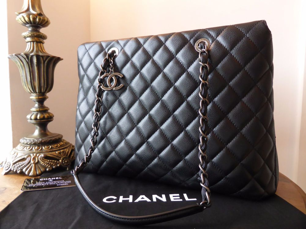 Chanel Large Charm Tote in Black Caviar with Ruthenium Hardware
