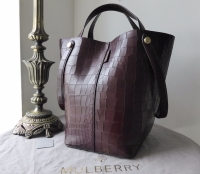 Mulberry Larger Sized Kite in Oxblood Deep Embossed Croc Print Leather