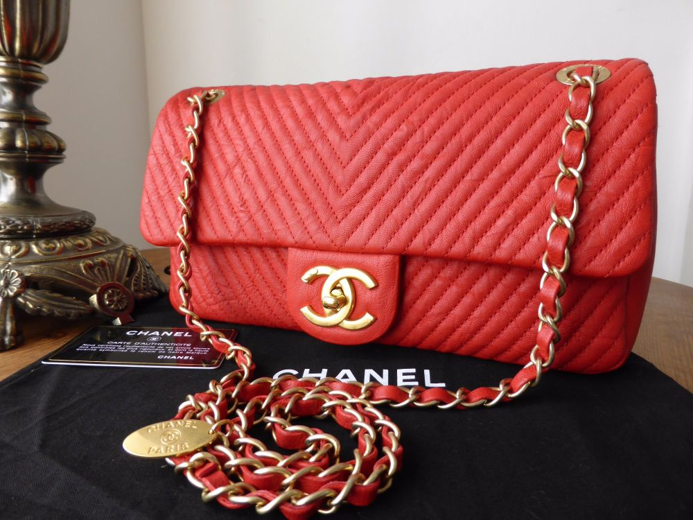 Chanel Medium Chevron Quilted Flap Bag in Coral Red Distressed Lambskin - A