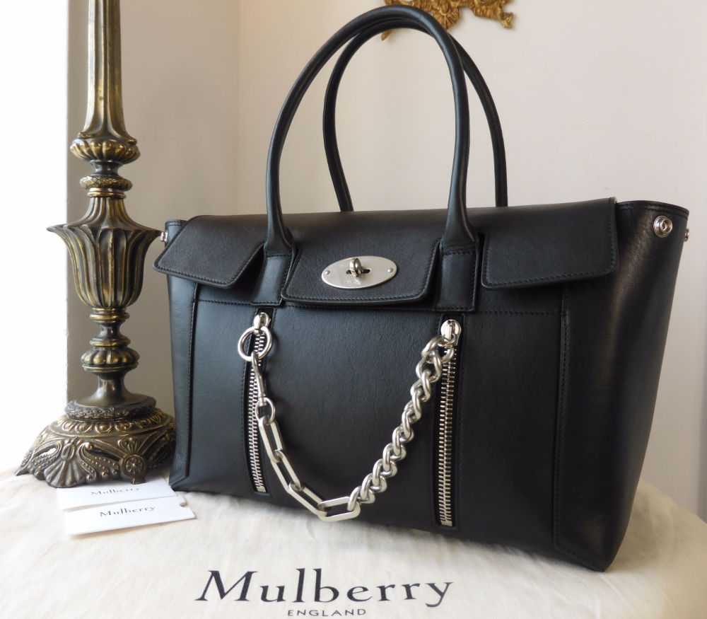 Mulberry Large New Bayswater with Zips and Chain in Black Smooth Calf - As