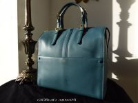 Georgio Armani Borgonuovo Tote  in Petrol Blue Piccola Vitello - SOLD