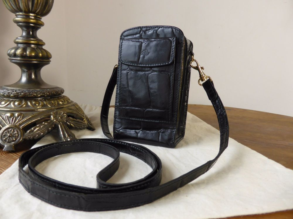 Mulberry Vintage Mini Mobile Messenger in Black Congo Leather