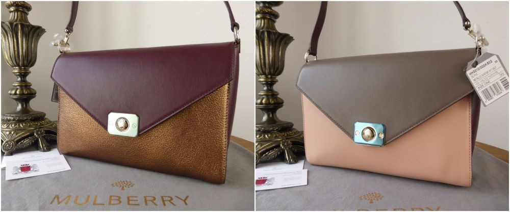 Mulberry Delphie in Metallic Goat & Oxblood Taupe and Rose Flat Calf - New