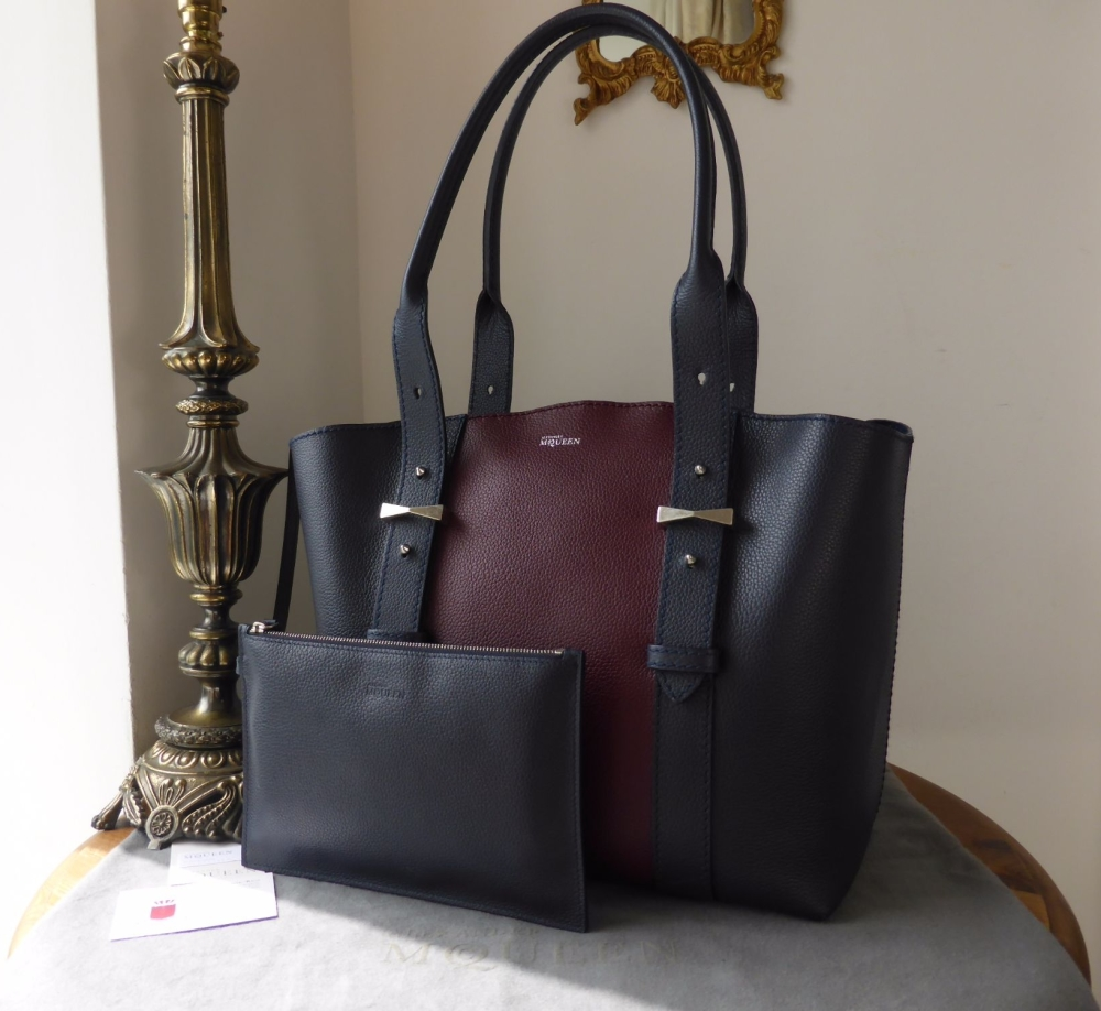 Alexander McQueen The Legend Colourblock Tote in Navy & Oxblood Calfskin