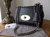 Mulberry Regular Lily in Black Ostrich Leather - As New