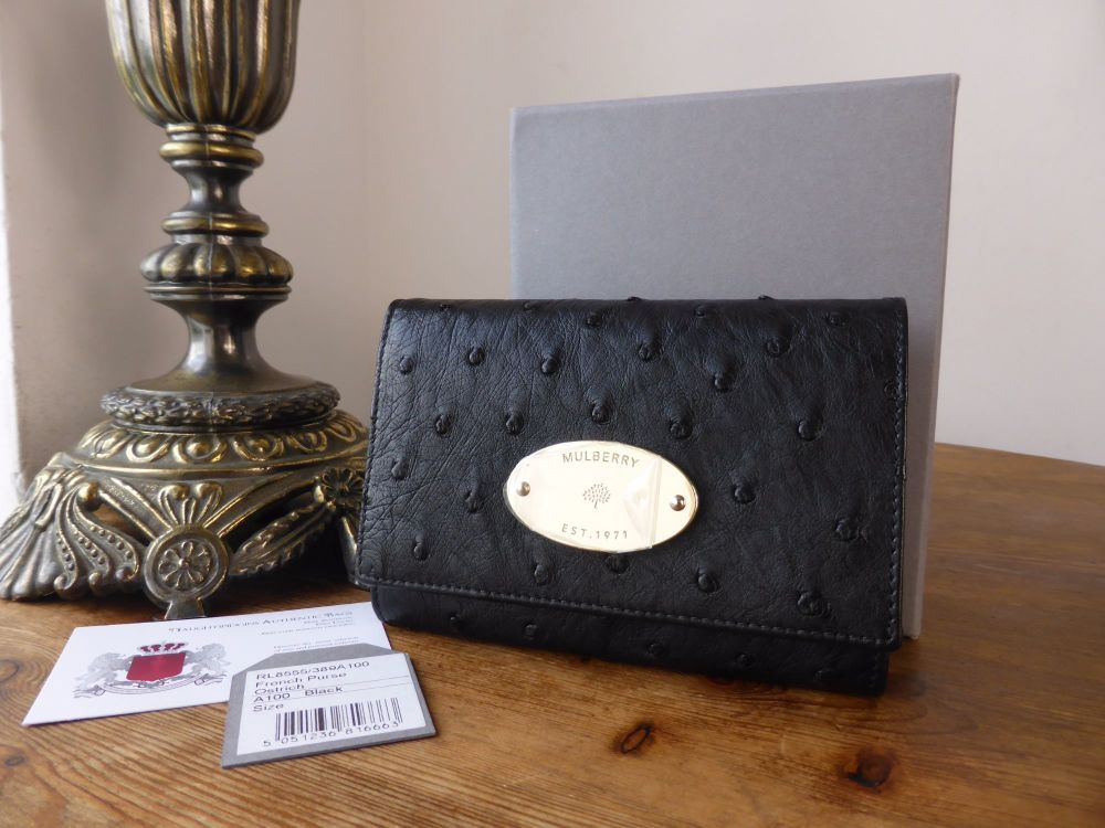 Mulberry French Purse in Black Ostrich Leather - New