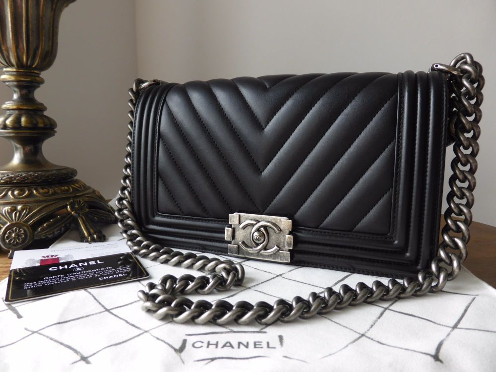 3fb75402a1cfd4 Chanel Old Medium Boy Chevron in Black Calfskin with Ruthenium Hardware