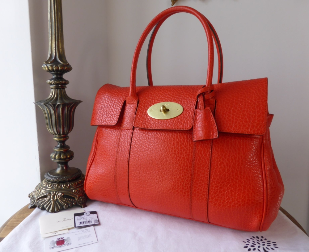 Mulberry Classic Bayswater in Flame Shiny Grain Leather