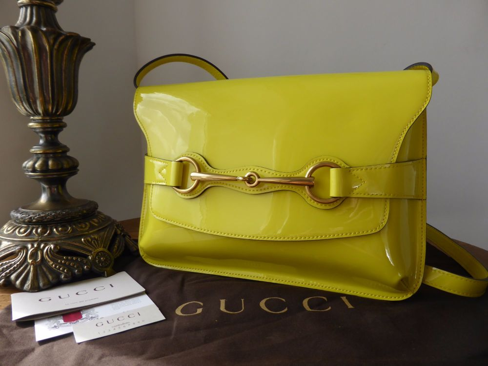 Gucci Bright Bit Shoulder Bag in Marigold Patent - As New*