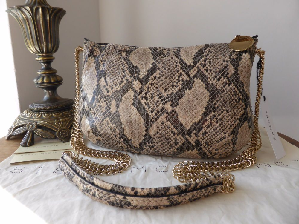 Stella McCartney Baily Boo Crossbody in Taupe Faux Python - As New*