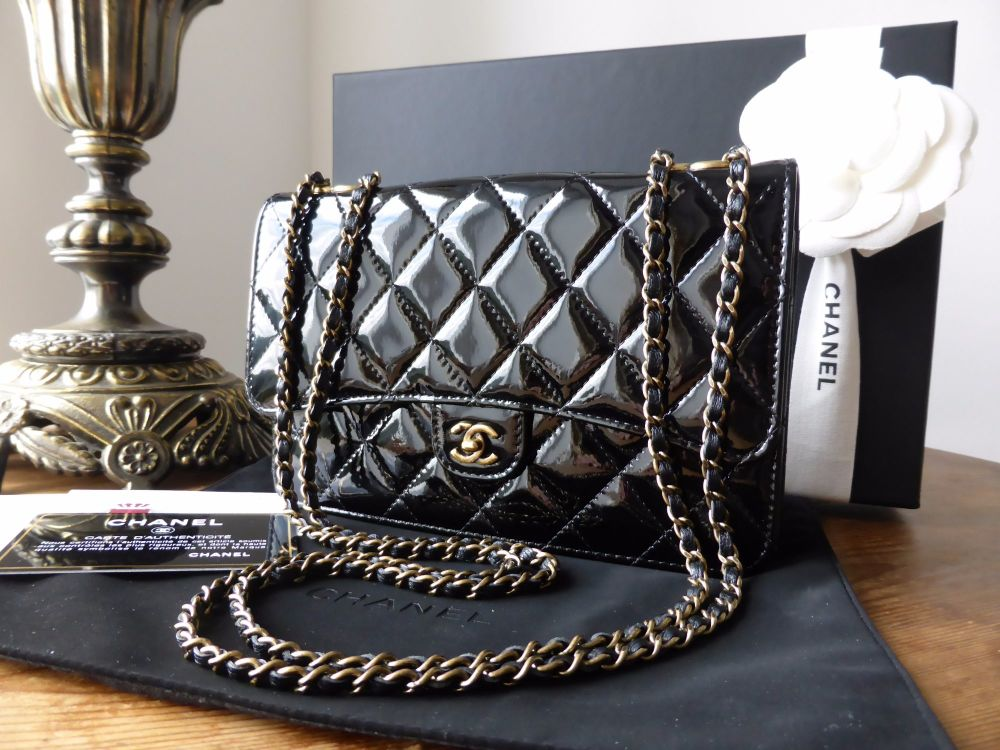 Chanel Wallet on Chain Quilted Flap Bag in Black Patent with Antiqued Gold