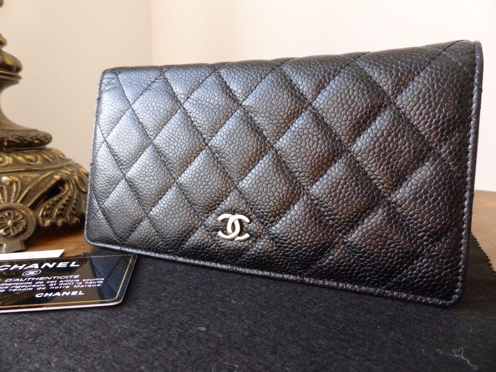 Chanel Continental Wallet in Classic Quilted Black Caviar with Silver Hardw