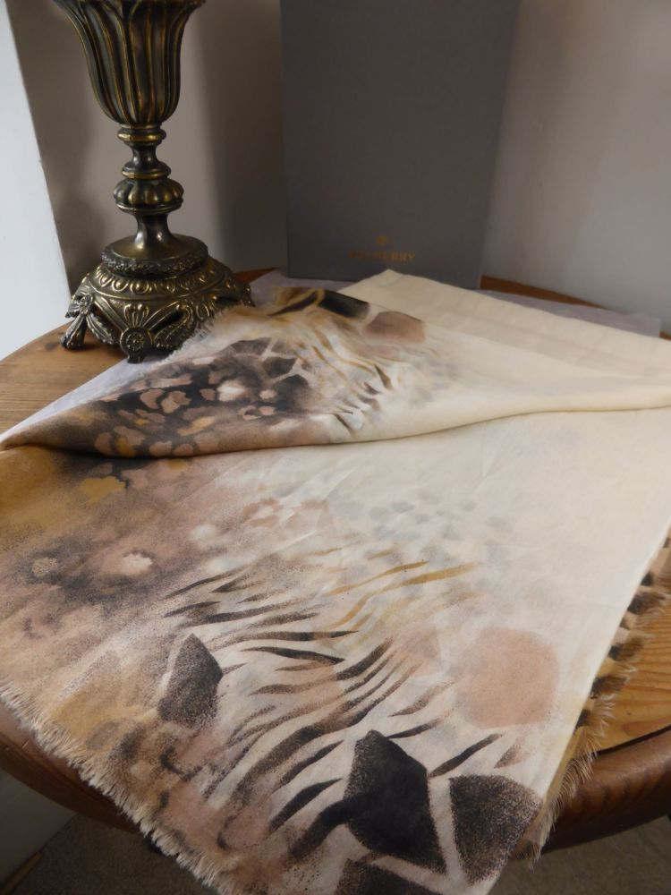 Mulberry Painted Fringe Animal Airbrushed Border Scarf Square in Fudge - Ne