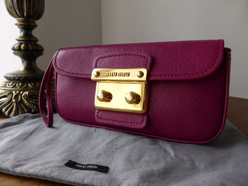 Miu Miu Wristlet Clutch in Peonia Pink Madras Leather