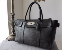 Mulberry Large Bayswater Buckle in Black Shrunken Calf with Silver Hardware