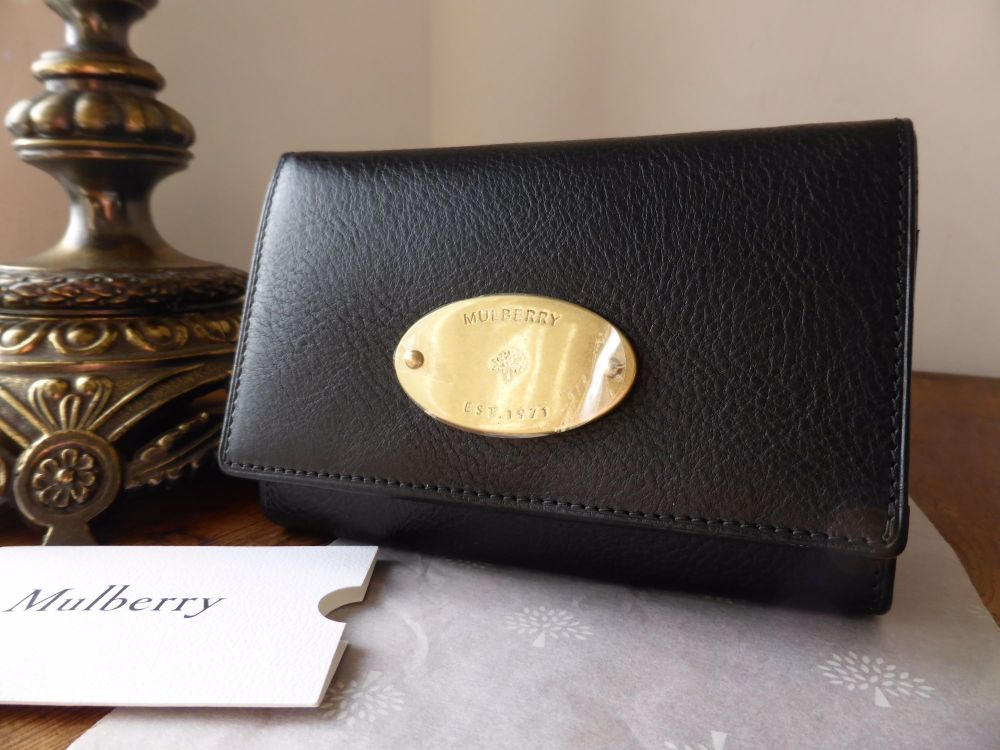 Mulberry French Purse in Black Natural Leather - New