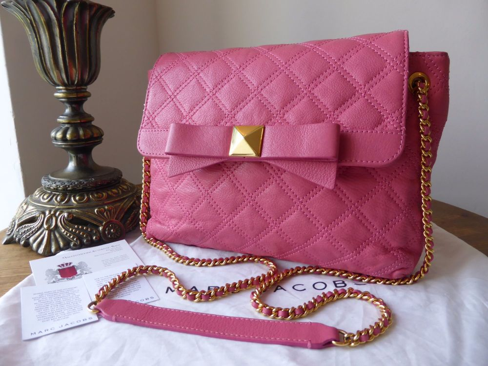 Marc Jacobs Medium 'The New Single' in Grainy Pink Quilted Calfksin