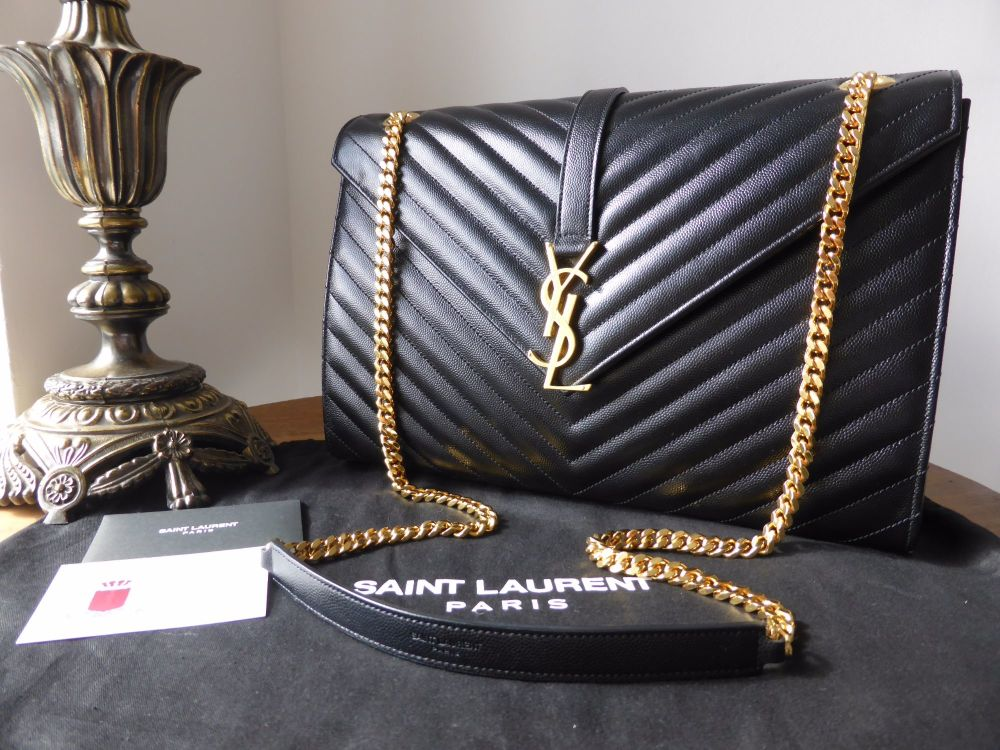 6f9378f901 Saint Laurent YSL Large Envelope Chain Flap Bag in Black Grain de Poudre Te