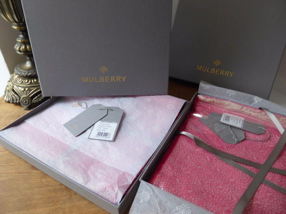 Mulberry Tamara Scarf in Cerise Pink Superfine Cotton - New