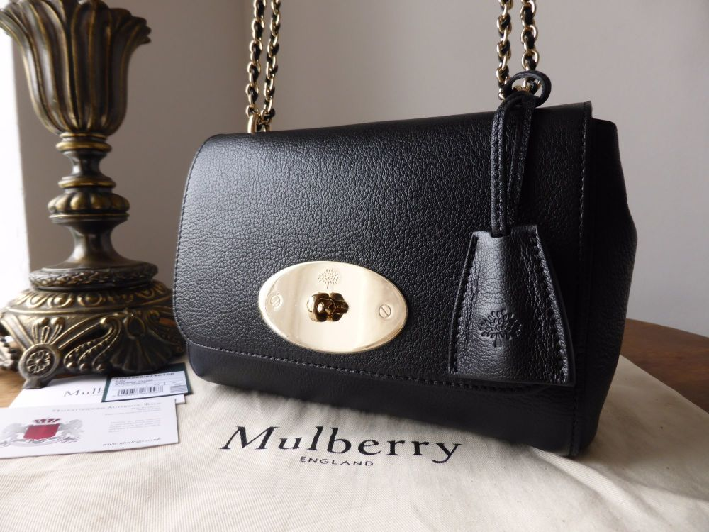 Mulberry Lily Regular in Black Glossy Goat with Gold Hardware - New