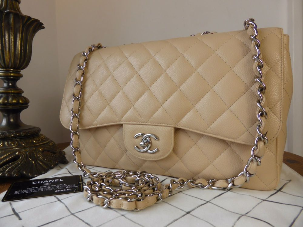 Chanel Classic Jumbo Single Flap in Beige Clair Caviar with Silver Hardware