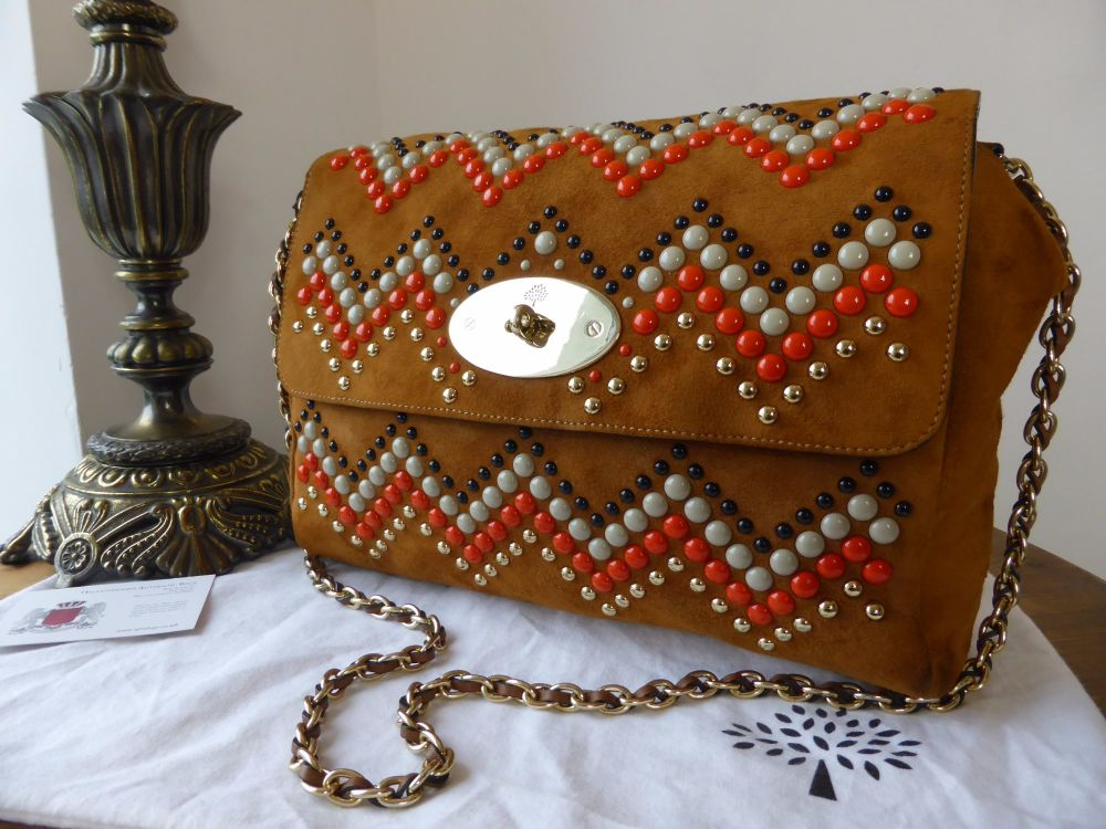Mulberry Medium Zig Zag Lily in Sycamore Heavy Suede with Enamel Rivets