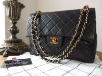 Chanel Vintage Medium Square Classic 2.55 Double Flap Bag in Black Lambskin with Gold Hardware