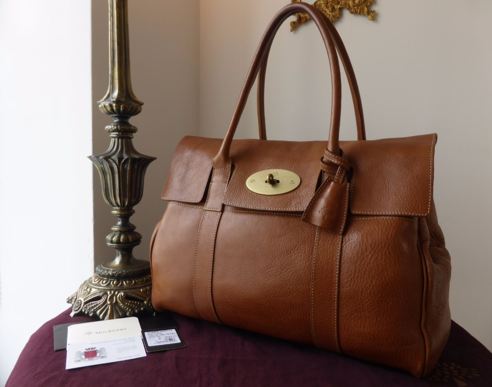 Mulberry Classic Bayswater in Oak Natural Leather with Brass Hardware