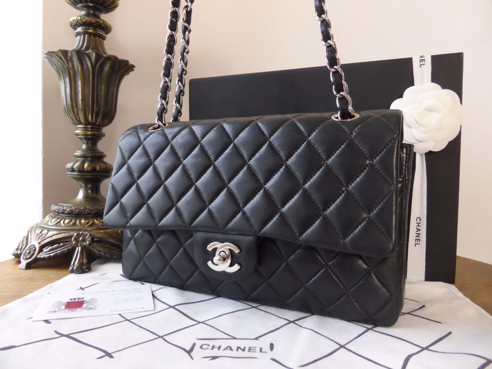 Chanel Classic 2.55 Double Flap Black Lambskin Leather with Silver Hardware