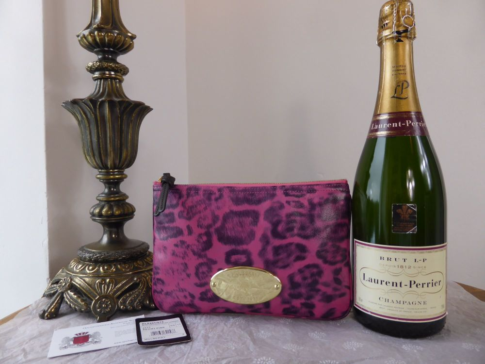 Mulberry Mitzy Zip Pouch in Peony Pink Shiny Leopard Print