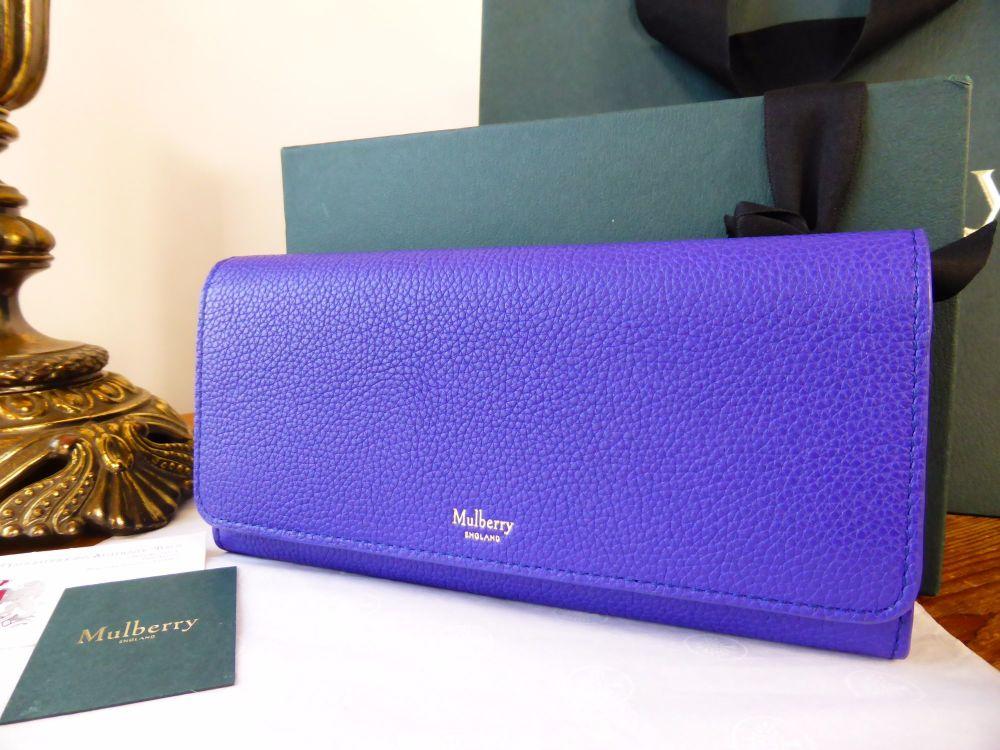 Mulberry Continental Purse Wallet in Indigo Small Classic Grain - New