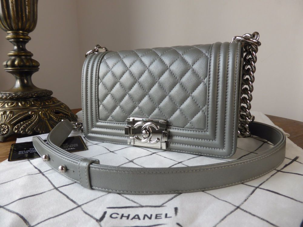 Chanel Small Boy in Metallic Silver Calfskin - As New